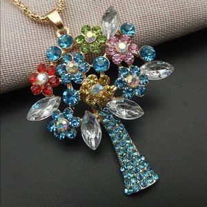 Blue Flower Bouquet Tree Necklace